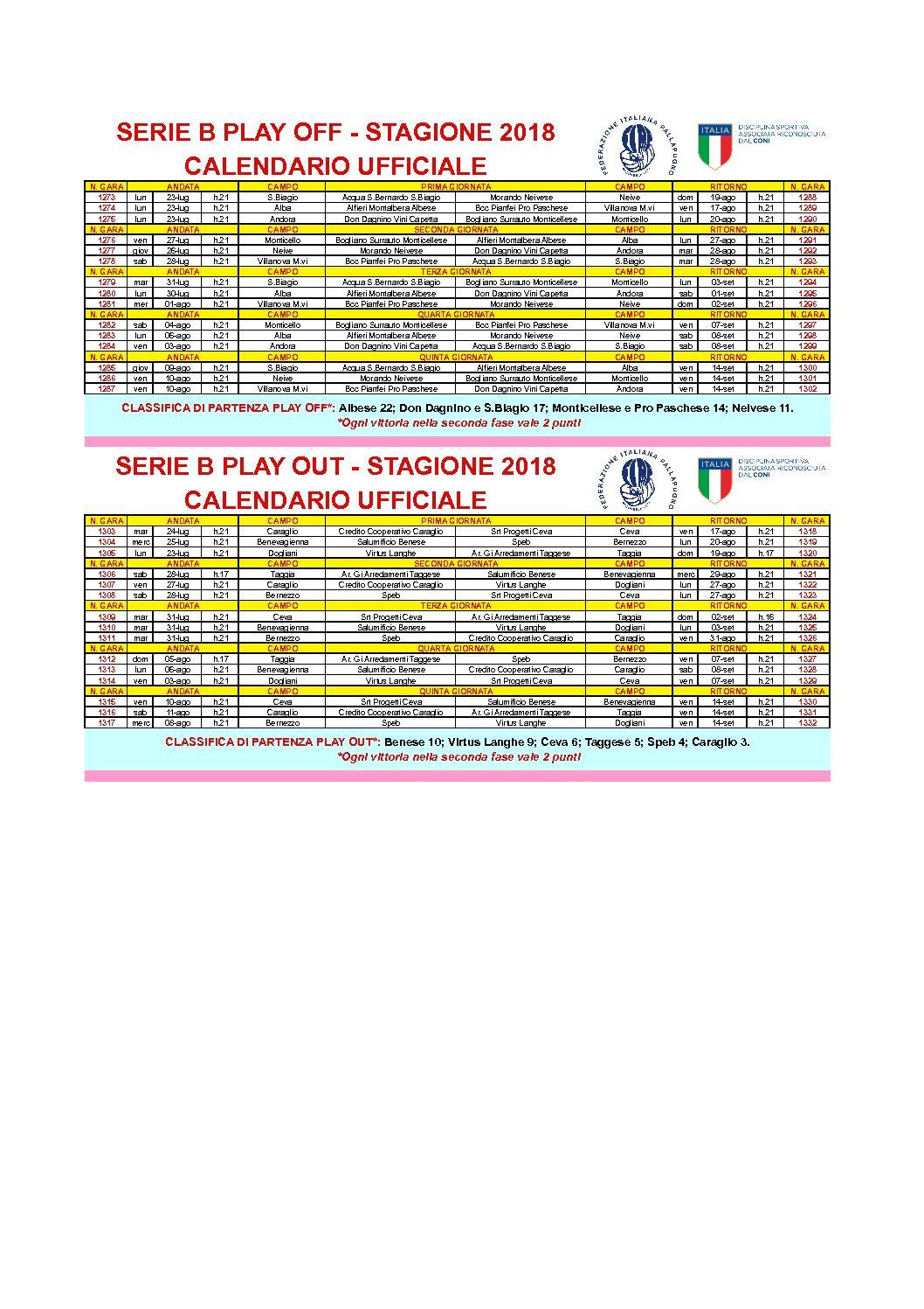 Calendario Play Off Serie B.Serie B Ii Fase Calendario Ufficiale2018 Losferisterio